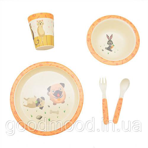 """Посуд бамбуковий дитячий """"Цуценята"""" 5пр/наб (2тарілки, виделка, ложка, склянка) MH-2772-2"""