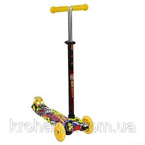 """Самокат А 24650 /779-1394 MAXI """"Best Scooter""""  4 колеса PU. СВЕТ, d=12см, фото 2"""