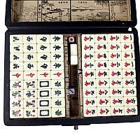 """Игра маджонг """"дракон и феникс"""" в кожаной коробке 23х16х5 см красный (C1261)"""