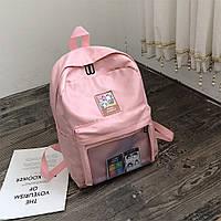 Рюкзак со съемными липучками-картинками для подростков девочек. с прозрачным карманом.