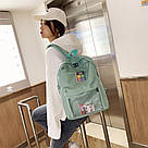 Однотонный рюкзак со съемными липучками-картинками для подростков девочек., фото 7