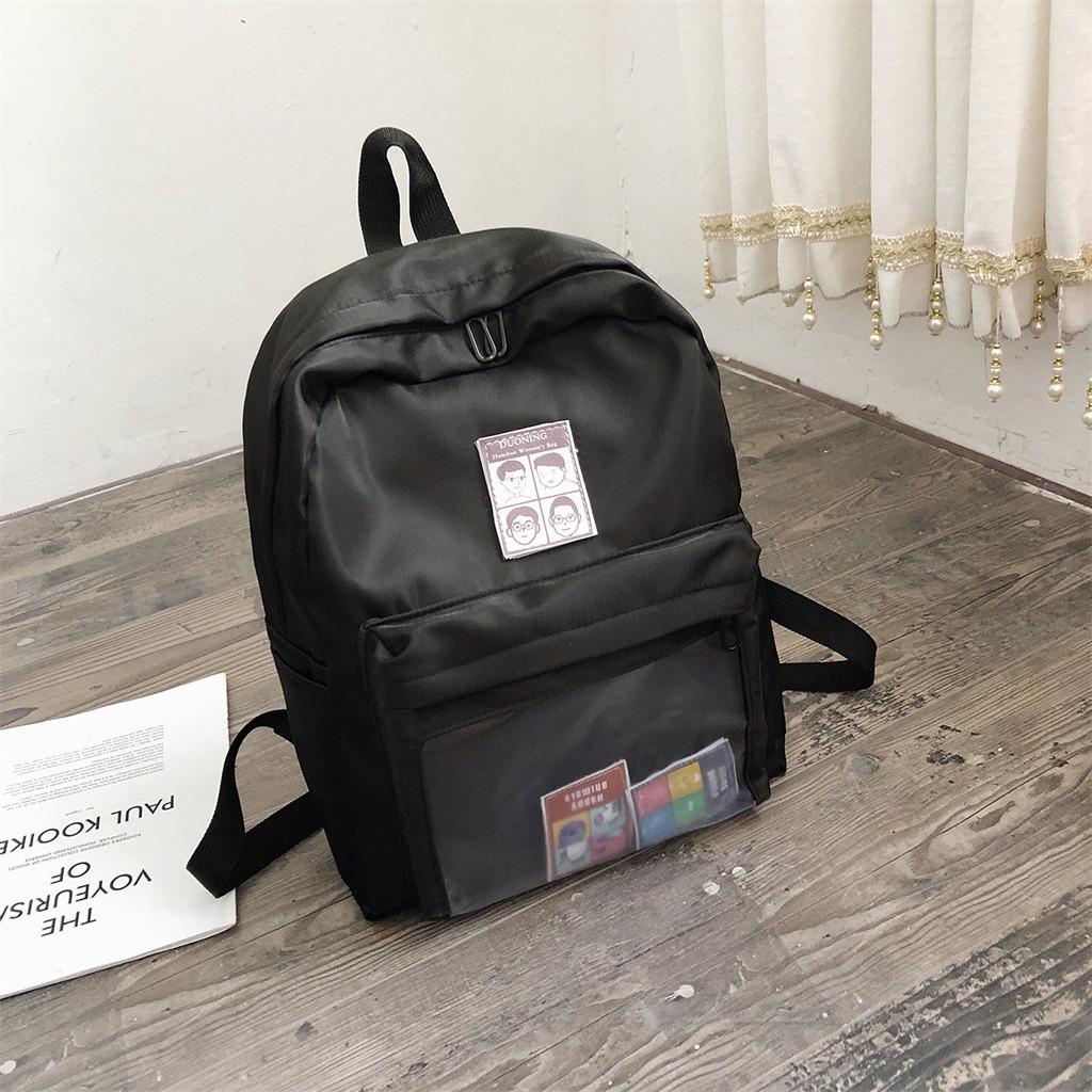 Однотонный рюкзак со съемными липучками-картинками для подростков девочек.