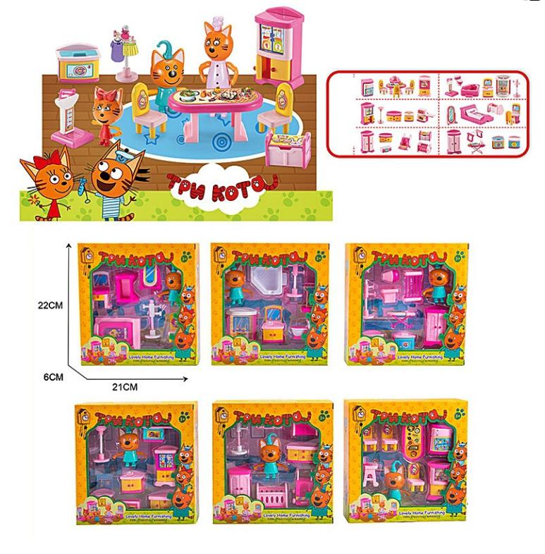 Игровой набор Три Кота с мебелью M-8813, 6 видов