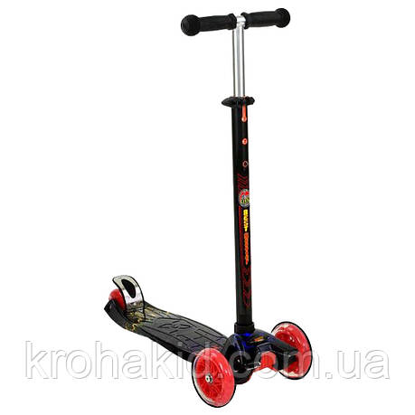 "Самокат А 24659 /779-1308 MAXI ""Best Scooter""  4 колеса PU. СВЕТ, d=12см, фото 2"