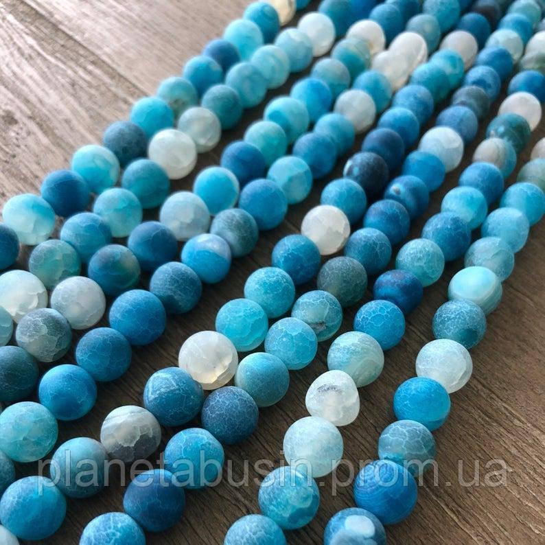 10 мм Голубой морозный Агат, Форма: Шар, Отверстие: 1.5 мм, кол-во: 38-40 шт/нить