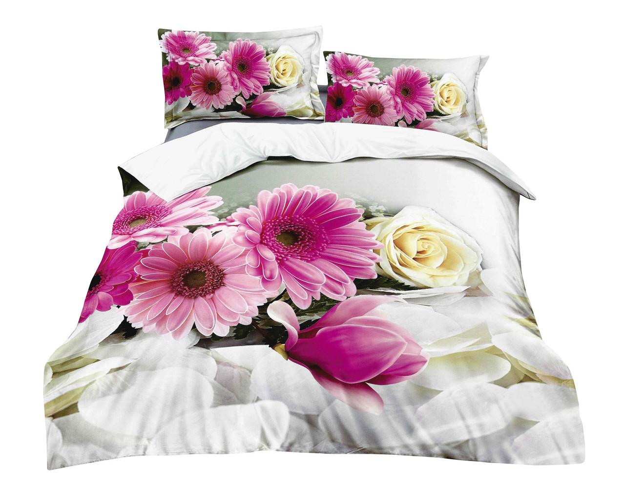 Комплект постельного белья Микроволокно HXDD-785 M&M 6338 Розовый, Серый