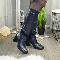 Женские синие кожаные сапоги на устойчивом каблуке