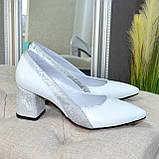 Туфли женские белые на устойчивом каблуке, натуральная кожа, фото 2