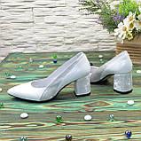 Туфли женские белые на устойчивом каблуке, натуральная кожа, фото 3