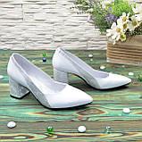 Туфли женские белые на устойчивом каблуке, натуральная кожа, фото 4