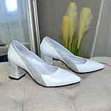 Туфли женские белые на устойчивом каблуке, натуральная кожа, фото 5