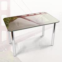 Виниловая наклейка на стол Подвесной Мост в тумане декоративная пленка самоклеющаяся, серый 600*1000 мм