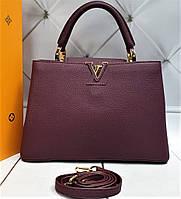 Женская кожаная сумка Louis Vuitton Capucines  Original quality зеркальная реплика черная с цветами