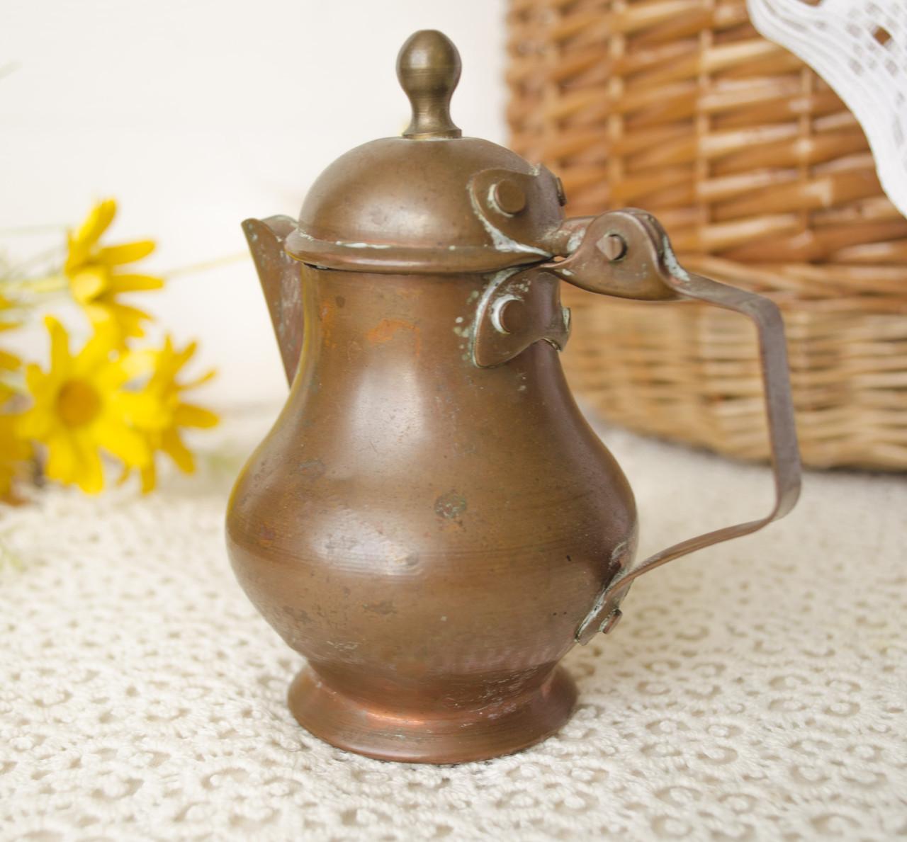 Старый медный миниатюрный кувшинчик, молочник, медь, Германия, 10 см