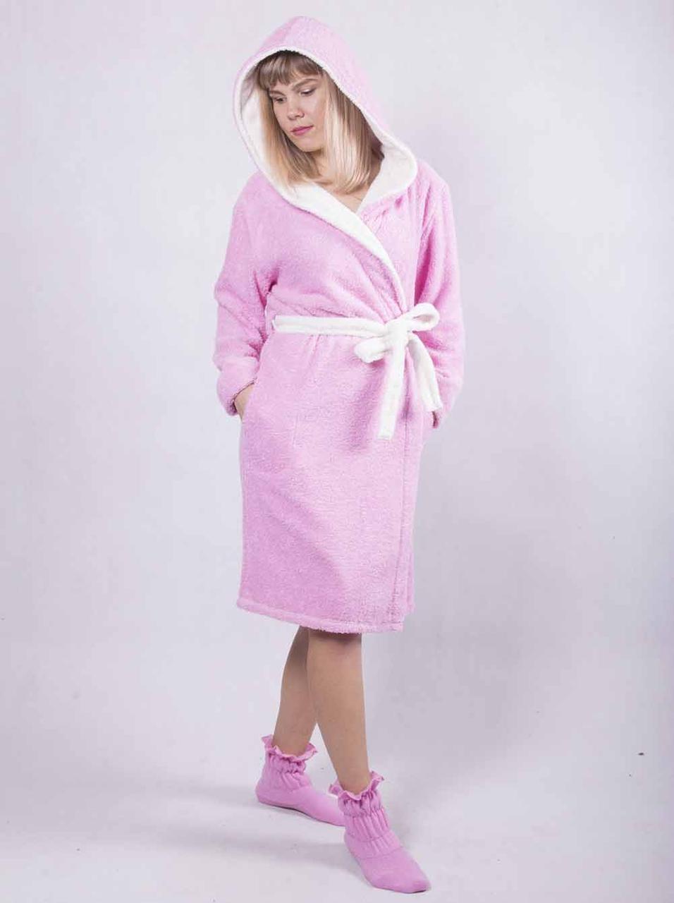 """Жіночий махровий халат бавовняний """"cotton lux"""" 42-50 р."""