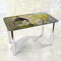 Виниловая наклейка на стол Каменный мост через реку декоративная пленка самоклеющаяся, серый 600*1000 мм