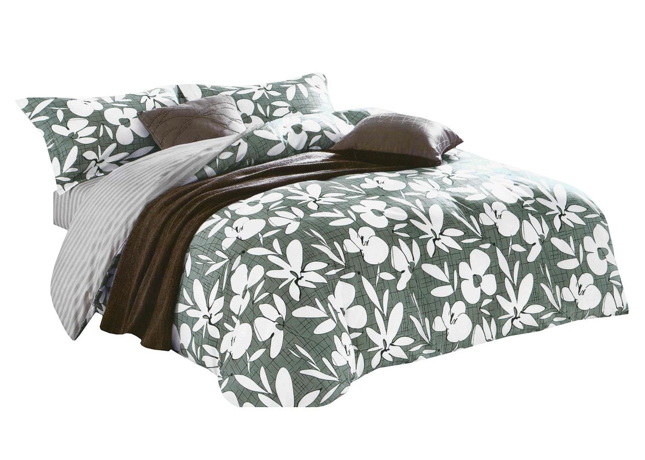 Комплект постельного белья Микроволокно HXDD-810 M&M 6680 Зеленый, Белый