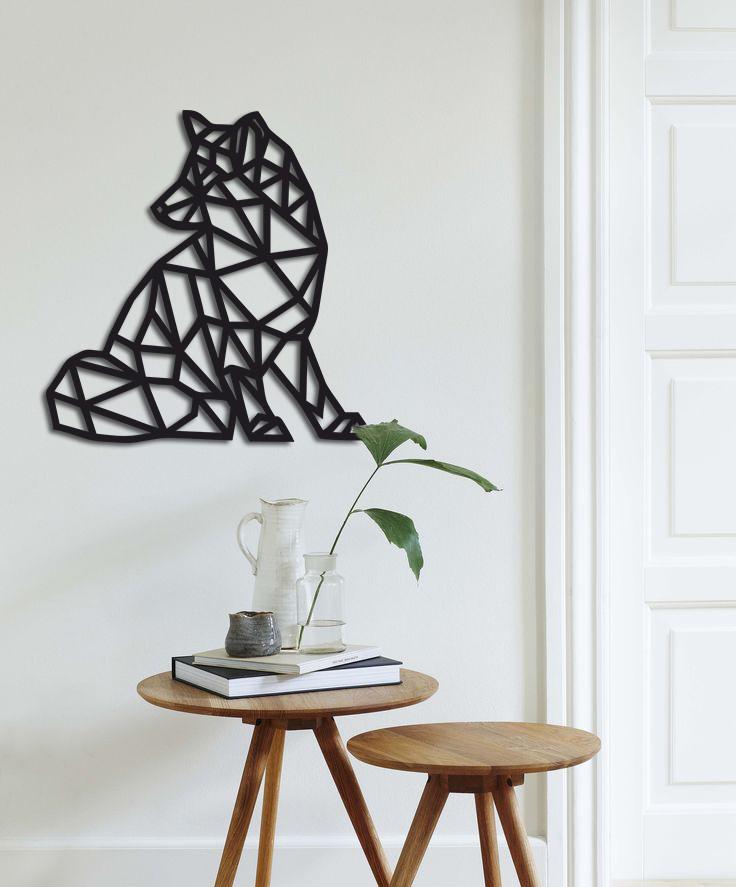 Оригинальный декор стен геометрическое панно из дерева «Лиса»