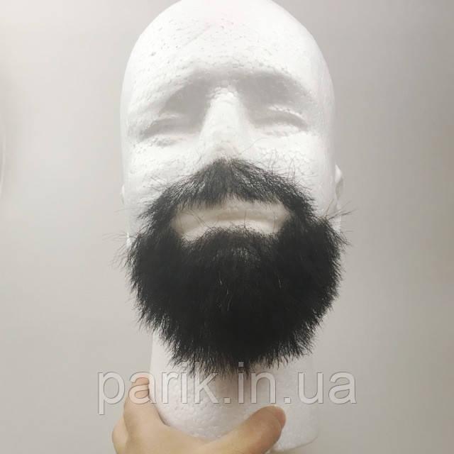 Накладная борода реалистичная купить натуральная профессиональная черная