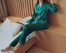Пижама зелёная длинный рукав+штаны - 324-08-1