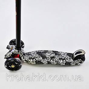 Самокат Best Scooter А 25465/779-1320  Maxi черный , свет. колеса PU, трубка руля алюминиевая, фото 2