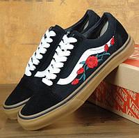 Мужские и женские кеды Vans Old Skool Roses 1в1 Как Оригинал! ТОП (ААА+)