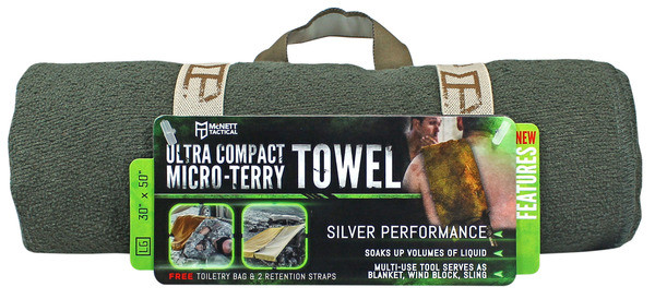 McNett OUTGO Tactical ULTRA COMPACT MICRO-TERRY TOWEL, Large 690 Олива (Olive)