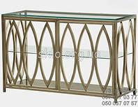 Столик туалетный, столешница стекло, каркас НЖ сталь. длинна 1500мм, ширина 200-400мм, высота 900-1000мм