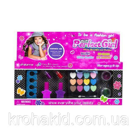 Детская косметика 335-03D: тени, помада, лаки, блестки - набор декоративной детской косметики для девочки, фото 2
