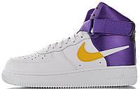 Мужские кроссовки Nike Air Force 1 '07 LV8 High NBA Lakers White высокие Найк Аир Форс НБА Лейкерс белые