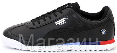 Мужские кроссовки Puma Roma BMW Motorsport Black (Пума Рома БМВ) черные, фото 2