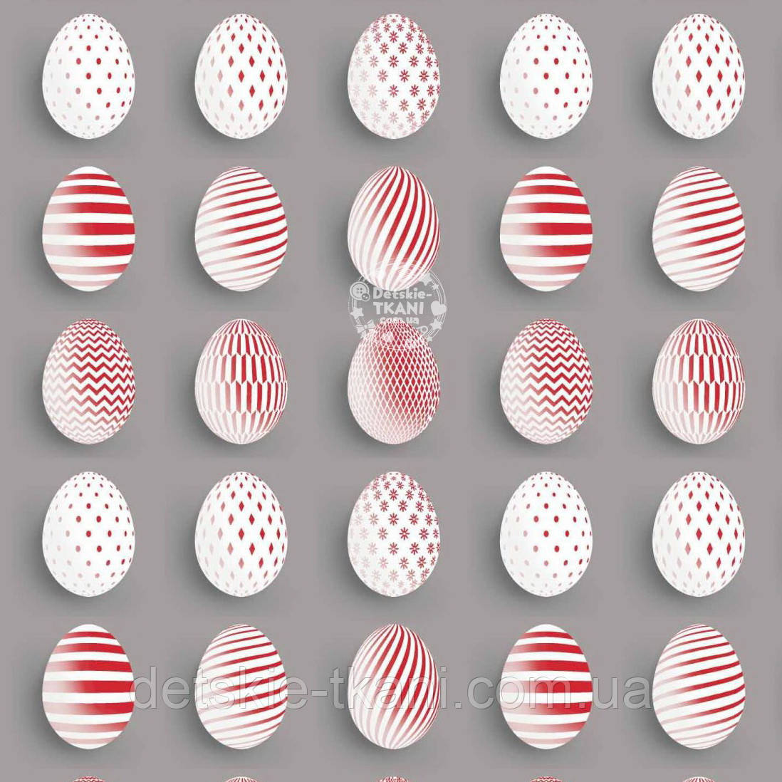 """Лоскут ткани """"Пасхальные яйца"""" красные на сером  №1256а, размер 38*80 см"""