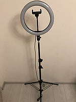 Профессиональная кольцевая светодиодная LED лампа 26см 20 ват с держателем для телефона и штативом