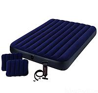 Надувной велюровый матрас Intex 64765 с насосом и подушками 152х203х25 см