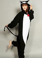 Костюм пижама Чёрный кот кигуруми для взрослых