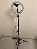 Профессиональная кольцевая светодиодная LED лампа 20 см  22 ват с держателем для телефона и штативом 200 см