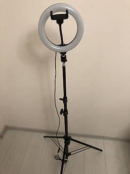 Професійна кільцева світлодіодна LED лампа 20 см 22 ват з тримачем для телефону і штативом 200 см