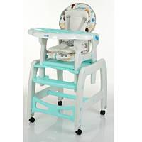 Детский стульчик для кормления трансформер на колесиках M 1563 Animal Mint