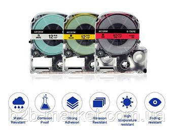 Картридж зі стрічкою для Epson LW-400, LW-700 18mm Чорний текст Рожева стрічка