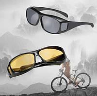 Антибликовые очки для водителей HD Vision  2 шт (для дня и ночи), очки антифары, водительские очки