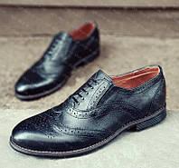 Туфли мужские классические натуральная кожа на резинке броги оксфорды дерби монки лоферы 41