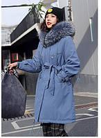 Женская парка с капюшоном и подкладкой ,из искусственного меха, светло-синяя, М