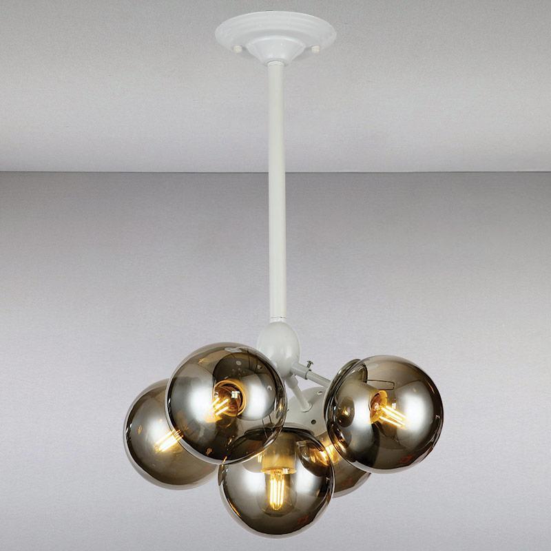 Люстра потолочная на пять ламп  LS-813318-5 WH BK  белая