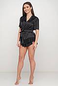 Черный шелковый пижамный комплект