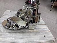 Спортивно бальная обувь, туфли для девочек Б-2, серебрянные, зеркальные, фото 1