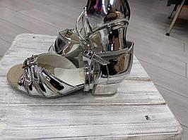 Спортивно бальная обувь, туфли для девочек Б-2, серебрянные, зеркальные