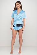 Голубой шелковый пижамный комплект для дома