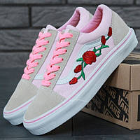 Женские кеды Vans Old Skool Roses 1в1 Как Оригинал! ТОП (ААА+)