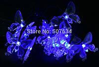 Гирлянда на солнечных батареях со светящимися элементами в виде милых бабочек