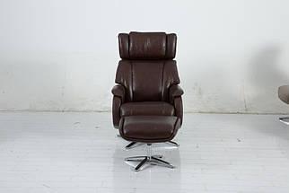 Кресло реклайнер DM-02009 с подставкой для ног кожа каштан TM Bellini, фото 3